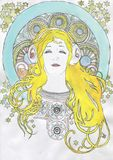 Illustration of a dreamy girl in headphones Monster beats in the style of art nouveau modern. Illustration of a dreamy girl in white headphones Monster beats in royalty free stock photo