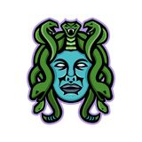 Medusa Greek God Mascot. Mascot icon illustration of head of Medusa, in Greek mythology, a monster, a Gorgon, described as a winged human female with living Royalty Free Stock Photography