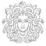 Medusa greek myth creature coloring vector. Medusa head with snakes greek myth creature coloring vector illustration. Comic book style imitation Royalty Free Stock Photos