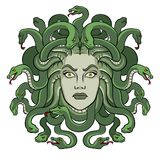 Medusa greek myth creature pop art vector. Medusa head with snakes greek myth creature pop art retro vector illustration. Isolated image on white background stock illustration