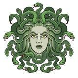 Medusa greek myth creature pop art vector. Medusa head with snakes greek myth creature pop art retro vector illustration. Isolated image on white background Stock Illustration