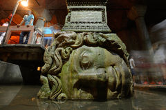 Medusa head in the Basilica Cistern Stock Photography