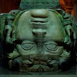 Medusa head, Basilica Cistern, Istanbul, Turkey. Stock Photo