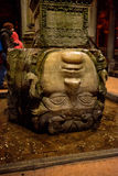 Medusa head column in Basilica Cistern Royalty Free Stock Photography