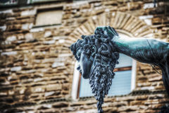 Medusa head of Perseo statue in Loggia de Lanzi Royalty Free Stock Images
