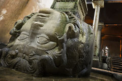 Medusa head shown in the Basilica Cistern in Istanbul, Turkey. Royalty Free Stock Photo