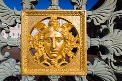 Medusa mask golden. Close up of a medusa mask golden Stock Image