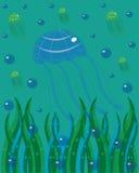 Medusa no mar. ilustração do vetor