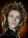 Medusa snakes eyes. Greek mythology, Medusa, woman with venomous snakes as hair on head.  Looking into her eyes turns you to stone Royalty Free Stock Photos