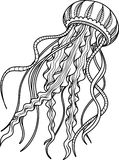 Meduse antistress Schizzo disegnato a mano per la pagina antistress adulta di coloritura illustrazione vettoriale