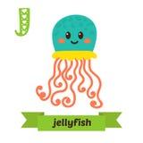 meduse Lettera di J Alfabeto animale dei bambini svegli nel vettore Fu Fotografie Stock Libere da Diritti