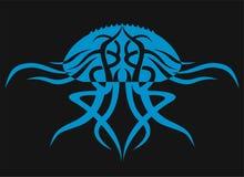 Meduse su un fondo nero Siluetta animale Immagine Stock