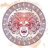 Meduzy Gorgona nakreślenie na grunge tle Zdjęcie Stock