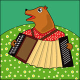 Medved. Bear plays the accordion on the meadow Stock Illustration