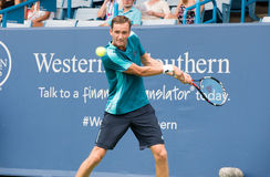 Medvedev 221. Mason, Ohio – August 14, 2017:  Daniil Medvedev in a first round match at the Western and Southern Open tennis tournament in Mason, Ohio, on Stock Images