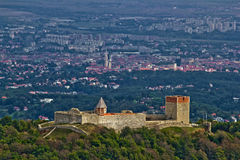 Medvedgrad castle & Croatian capital Zagreb. From Medvednica mountain - Altar of motherland Stock Photography