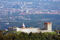 Medvedgrad, castle. Old town Medvedgrad with the Croatian capital of Zagreb in the background, Croatia Stock Image