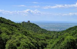 Medvedgrad Castle on a hilltop, overlooking Zagreb, Croatia. Medvedgrad is a medieval fortified town located on the south slopes of Medvednica mountain Stock Photos