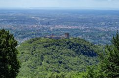 Medvedgrad Castle on a hilltop, overlooking Zagreb, Croatia. Medvedgrad is a medieval fortified town located on the south slopes of Medvednica mountain Stock Photography