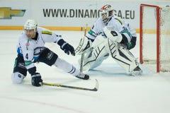 Medvescak Zagreb beats Dinamo Riga 2-1 Stock Images