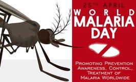 Medvetenhetdesign i världsmalariadag med myggan och plasmodiumen, vektorillustration Royaltyfri Fotografi