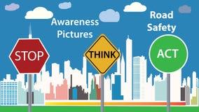 Medvetenhetfotoillustration - meddelande för vägsäkerhet - barnutbildningsaffisch stock illustrationer