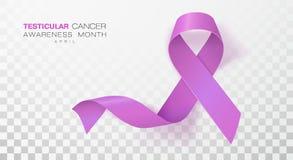 Medvetenhetmånad för Testicular cancer Orkidéfärgband på genomskinlig bakgrund Vektordesignmall för affisch vektor illustrationer