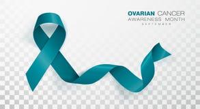 Medvetenhetm?nad f?r ?ggstocks- cancer Teal Color Ribbon Isolated On genomskinlig bakgrund Vektordesignmall f?r affisch stock illustrationer