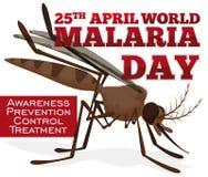 Medvetenhetpropaganda med myggan för världsmalariadagen, vektorillustration Arkivfoton