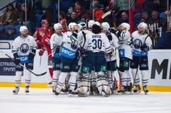 Medvezhchak team rejoice of win Royalty Free Stock Photo