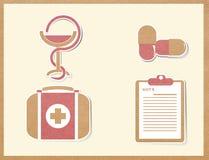 Medycyn ikon papierowy rzemiosło Obrazy Stock