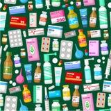 Medycyn pastylki, pigułki i witamina wzór, Obraz Stock