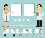 Medycyna charakteru ludzie - set z pustymi sztandarami w mieszkanie stylu odizolowywającym na białym tle Zdjęcia Stock