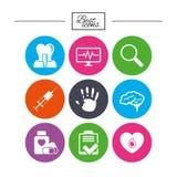 Medycyna, medyczni zdrowie i diagnoz ikony, Obraz Royalty Free