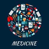 Medycyna symboli/lów tło z ikonami Zdjęcia Royalty Free