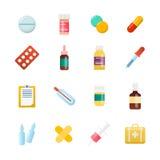 Medycyny kreskówki pigułka, lek, stół, antybiotyki, lekarstwo dawka ilustracji