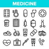 Medycyny Kreskowej ikony Ustalony wektor Apteka nagłego wypadku symbol lek medycyna Klinika, Szpitalna ikona Cienieje kontur sieć royalty ilustracja
