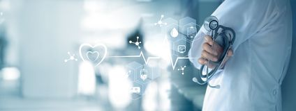 Medycyny lekarka z medyczną ikony siecią Zdjęcie Royalty Free