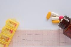 Medycyny pigułki, witaminy, butelka i pudełko na, kardiogramie i bielu tle Zdjęcia Stock
