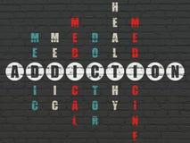Medycyny pojęcie: Nałóg w Crossword łamigłówce ilustracji