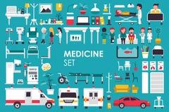 Medyczna Duża kolekcja w płaskim projekta tła pojęciu Infographic elementy ustawiający z personelem szpitala fabrykują i pielęgnu Zdjęcie Stock