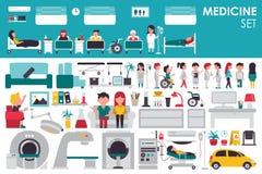 Medyczna Duża kolekcja w płaskim projekta tła pojęciu Infographic elementy ustawiający z personelem szpitala fabrykują i pielęgnu Obrazy Stock
