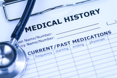 Medyczna historia i Czarny stetoskop Zdjęcie Royalty Free