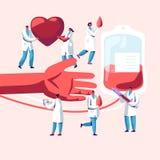 medyczna krwiono?na t?o darowizna Samiec, Żeńscy charaktery w Medycznym Jednolitym Robi tika przetaczaniu od Ludzkiej ręki Plasti ilustracja wektor