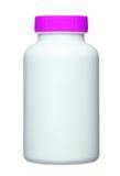 Medyczna pigułki butelka z pustą etykietką dla kopii przestrzeni Zdjęcia Stock