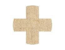 Medyczna przecinająca łaty burlap tekstura odizolowywająca na bielu Obrazy Stock