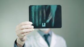 Medyczna technologia lekarka robi diagnozie, egzamininuje promieniowanie rentgenowskie pacjent zbiory wideo