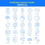 Medyczne ikony - Futuro błękita 25 ikony paczka ilustracja wektor