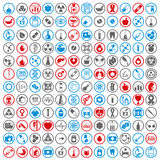 Medyczne ikony ustawiają, wektorowy ustawiający 144 medycznego i medycyny znaka Obraz Stock