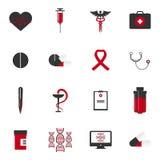 Medyczne ikony z Białym i czerwonym tłem Obraz Stock